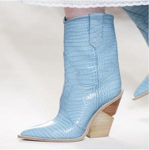 2019 новая мода кожаные ковбойские сапоги острым носом Botines Mujer вырезать высокие каблуки Роскошные дизайнерские западные Женские сапоги размер 35-47