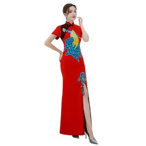 Shanghai Historia vestido tradicional chino del pavo real bordado largo de la sirena del cheongsam de Qipao de la manga del cortocircuito del cordón Oriental