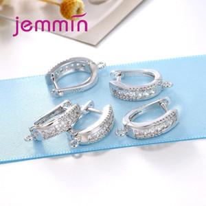 Jemmin Qualidade Fina 925 Sterling Silver Earrings Achados Componentes Ganchos de Cristal Earwire Leverback Para Diy Acessório Y19052401