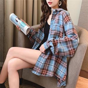 LUX ANGNER Yaz Yeni Gömlek Kadınlar Ekose Klasik Gevşek Uzun Kollu Bluz Gömlek Kadınlar Kore Vintage Casual Gömlek Kadın Giyim