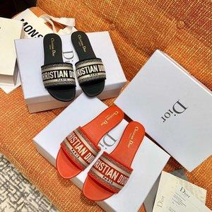 MULTICOLOR Dway mula em algodão bordado SLIDE Designer Mulheres Plano Sandals forma das mulheres Chinelo Mulheres Slides Top Sandals Qualidade