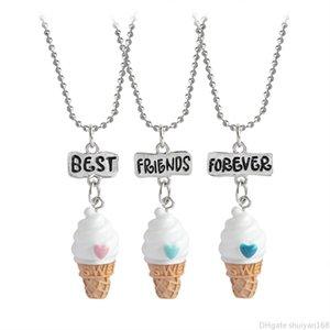 Best Friends Forever Colliers BFF Ice Cream Pendentif Collier Femme Enfants Enfants Mini alimentaire Amitié Déclaration Bijoux cadeau 3PCS / SET