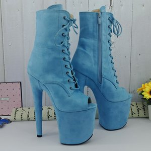Leecabe Light Blue Suede 20CM 8inches Pole dancing shoes High Heel platform Boots open toe Pole Dance boots