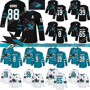 San Jose Sharks 8 Joe Thornton Pavelski 19 88 9 Brent Burns Evander Kane 65 Erik Karlsson Couture Verde Blanco 2018 jerseys del hockey
