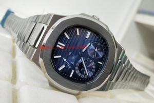Orologi da polso di alta qualità di lusso Nautilus 5712 / 1A-001 40 millimetri in acciaio inossidabile quadrante blu meccanico automatico trasparente orologi da uomo