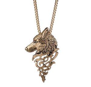 (bronzo) Prezzo all'ingrosso Vendi un prepotente lupo testa collana Moda alla moda joker catena clavicola spedizione gratuita.