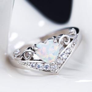 10 قطع الأوروبية والأمريكية الساخن الأزياء القلب شكل أوبال الدائري المرأة الاشتباك الحصول على متزوجة مجوهرات هدية حلقات حجم 6-10 G-70