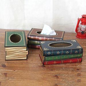 Venda Hot Style Retro Continental Livros Tissue Forma Clássico Reserve Box Decoração Tissue Box