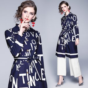 2020 Women's Designer Trench Coats Runway Beauty Letters Print Ladies Outwear Coats Plus Size Long Sleeve Trench Office Elegant Casual Tops