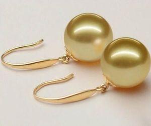 Großhandel gute hj 00331 natürliche australische Südsee goldene Perlenohrringe 12MM
