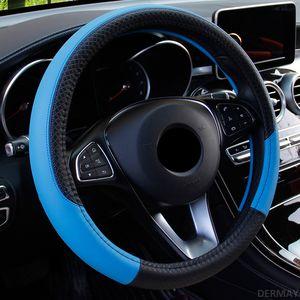 Car Steering Wheel Cover 37 centímetros-38 centímetros Auto Interior PU de couro de volante Automobiles Capa Universal Four Seasons Acessórios