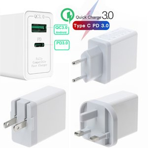 300pcs QC3.0 PD Type-C Type C USB Quick Charger Travel Adapter 36W Smart QC 3.0 Fast Charging For iPhone samsung Galaxy