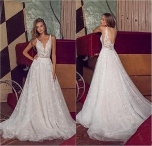2020 Nova Boho vestidos de casamento Um Vestido linha V Neck Lace apliques Bohemian casamento Custom Made Sweep Trem elegante Vestidos De Novia 758