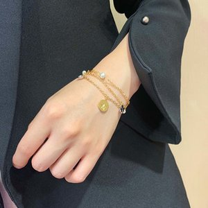 C2076 Trendy clover hand catenary wedding jewelry gift golden star pearl pendant CD letter multi-layer bracelet