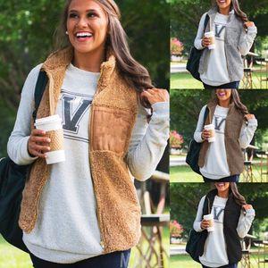 Women fleece Vest blank patch side pockets zipper sherpa vest winter warm women sherpa pullover sleeveless Coat soft outwear LJJA2857