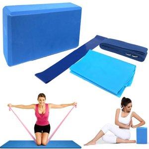 4pcs Yoga disposición de los equipos Bloques de la yoga de estiramiento Resistencia correa de lazo venda del ejercicio de banda Mat bloque de estiramiento
