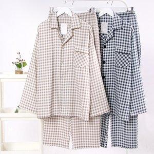 Autumn long-sleeved pajamas pajamas men's pure cotton gauze double-layer autumn casual men's plaid home clothes suit