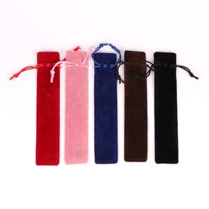 3.5X17.5cm peluche velluto della penna sacchetto del supporto della cassa della penna singolo sacchetto della matita con la corda Ufficio scuola di scrittura Forniture Studente Logo personalizzabile