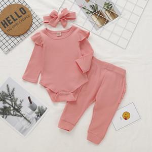 In Frühling Herbst Kinder-Mädchen-Baby-Kleidung 2 PC-Sätze Solid Color Body + Hosen-Baby-Kinderkleidung Zweiteilige Sets Kinder Outwear beiläufige Ausstattung Sets