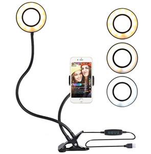 Universal-Selfie Ringlicht mit flexiblen Handyhalter Faule Bracket Schreibtischlampe LED-Licht für Live Stream Office Küche