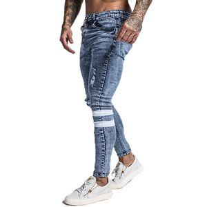 2019 New Men Skinny Jeans Skinny Slim Fit Stretchy Blue Jeans Big Size Cotton Lightweight Comfy Hip Hop White Tape