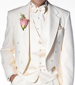 아이보리 남자 더블 브레스트 턱시도 슬림 피트 정장 블레이저 신랑 신부 웨딩 드레스 드레스 사용자 정의 남자 패션 복