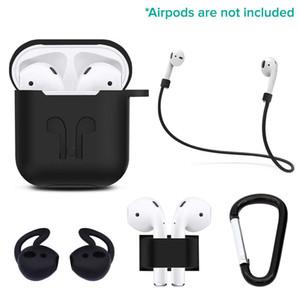 5 IN 1 Kits Soft-Silikon-Aufbewahrungstasche für Airpods drahtloser Kopfhörer + Anti-verlorene Bügel + Earbuds Fall mit Haken-Zubehör-Set FAST SHIP