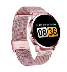 Q8 OLED Bluetooth Relógio Inteligente de Aço Inoxidável Dispositivo Wearable À Prova D 'Água Smartwatch Relógio De Pulso Das Mulheres Dos Homens de Fitness Rastreador