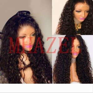 MHAZEL Wet Kinky Curly 150 Density Lace Front Virgin Human Hair Wigs With Baby Hair Remy