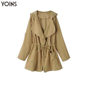 Yonis 2019 Mulheres Outono Inverno Primavera Mulheres Trench Coats mangas compridas com capuz Collar gêmeo Jackets Pockets com cordão cintura