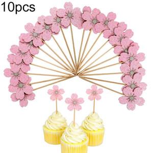 10 Unids Cherry Blossom Glitter Cupcake Cake Topper Boda Cumpleaños Fiesta Decor Accessary