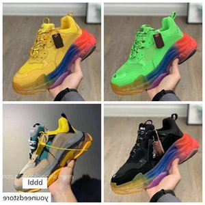 New Luxury Crystal Bottom Casual Shoes Triple S 2.0 Rainbow Sneakers Designer Old Dad Green Black Platform Mens Women Casual Shoes Sneakers