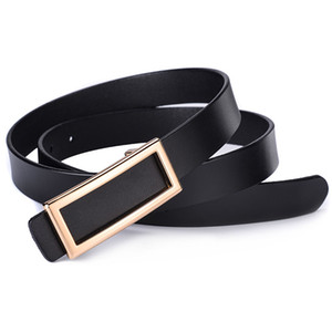 2020 Fashion Designer Square Metal Smooth Buckle Belt for Women Quality Genuine Leather Waist Belts for Jeans Female Waistband
