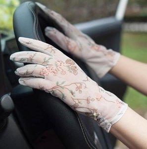 Fashion-женского цветок печати солнцезащитного крем сетки Перчатка дамской скольжения вождения перчатка марочных сенсорный экран перчатка