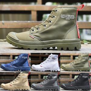 Sıcak satış ayakkabı tasarımcısı PALLADYUM Pallabrouse Erkekler Yüksek üst Ordusu Askeri Yarım bot Branda Sneakers Günlük Ayakkabılar Man Kaymaz spor Shoesl