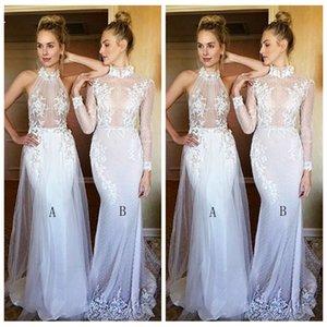 2019 Высокая шея Тонкие кружевные аппликации Тонкий Русалка Длинные платья подружек невесты на заказ Длинные женщины Особые случаи Платья для вечеринок Honor Of Maid