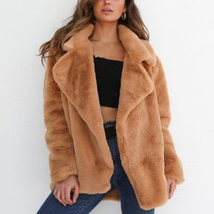 Women Designer Faux Fur Coats Solid Color Open Stitch Outerwear Turn Down Collar Thick Warm Fur Coat