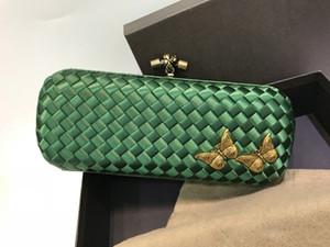 25cm Band Flap Frauen Handtaschen und Geldbörsen Satin Grün Weibliche Partei Kultur Abendessen-Beutel-Mappen-Abend-Handtasche