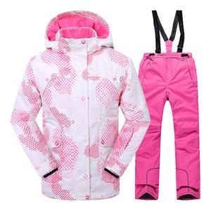Conjuntos de esquí de invierno para niñas y niños Chaqueta y pantalón de esquí a prueba de viento Conjunto de ropa para niños al aire libre Adolescentes Niños con capucha cálido traje para niñas