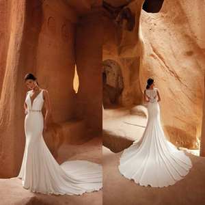 Eddy K 2021 Wedding Dresses V Neck Button Back Lace Satin Bridal Gowns Custom Made Lace Appliques Sweep Train Mermaid Robe De Soiree