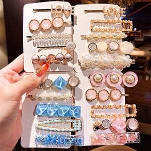 3 / 5pcs / set Ins nuevas muchachas de las mujeres elegantes clips Perlas geométrica de las horquillas dulce diadema de pelo Barrettes Moda Accesorios para el cabello