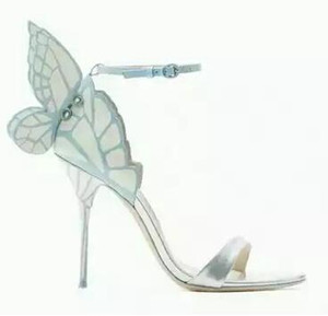 Free shipping Sophia Webster women's leather heels, butterfly decorated sandals, buckle heels, size: 34-42, blue and silver