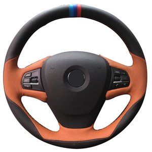 Hand sewing custom Black Leather Brown Leather Car Steering Wheel Cover for BMW F25 X3 2011-2017