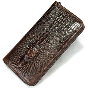 Genuine Leather Purse Alligator Cow Leather Men Purse Long Designer Cash Coin Pocket Card Holder Clutch Bag Vintage Male Wallet