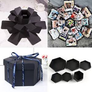 NEW Hexagon Surprise Explosion Box DIY Scrapbook Photo Album For Valentine Wedding Birthday Party Gift For Girlfriend Surprise