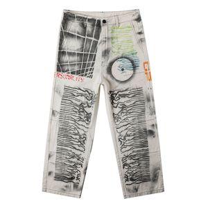Boyalı Streetwear Erkek Denim Pantolon Yıpranmış Düz Gevşek Casual Erkek Hip Hop Jean Pantolon için Ripped Jeans Graffiit