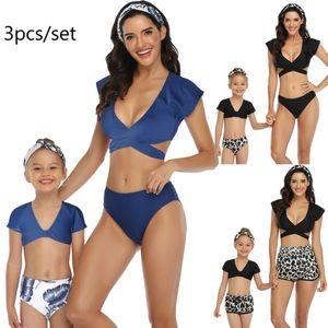 Family Matching Swimwear 2020 New Mother And Me Summer Bikini Set Bandeau Swimsuit Swimwear Bathing Suit Swimsuit