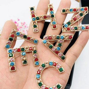 Chegada Nova Multicolor Rhinestone Carta Broche 6pcs / set de cristal Carta broche moda jóias de partido do presente