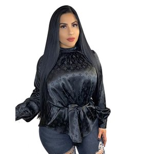 Yeni yüksek yakalı mektup baskılı kadın gömlek moda rahat Bluzlar Tişörtlü sonbahar seksi Kadın Giyim üst S-XXL