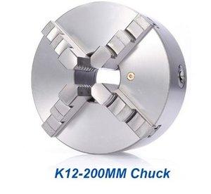 8-дюймовый токарный патрон K12-200 мм сверлильный патрон 4 челюсти самоцентрирующийся закаленной стали прокрутки токарный станок для ЧПУ древесины маршрутизатор